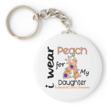 Endometrial Cancer I Wear Peach For My Daughter 43 Basic Round Button Keychain