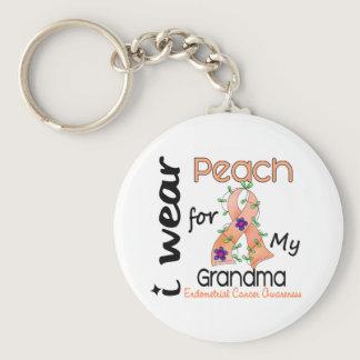 Endometrial Cancer I Wear Peach For My Grandma 43 Keychain