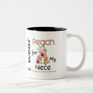 Endometrial Cancer I Wear Peach For My Niece 43 Two-Tone Coffee Mug