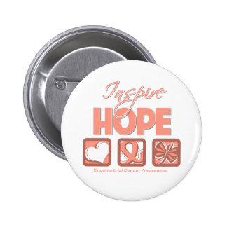 Endometrial Cancer Inspire Hope Pinback Button
