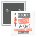 Endometrial Cancer Label Logo I Fight Like A Girl Pinback Buttons