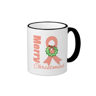 Endometrial Cancer Merry Christmas Ribbon Coffee Mug