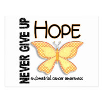 Endometrial Cancer Never Give Up Hope Butterfly 4 Postcard