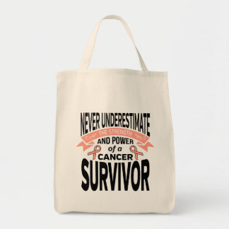 Endometrial Cancer Never Underestimate Strength Grocery Tote Bag
