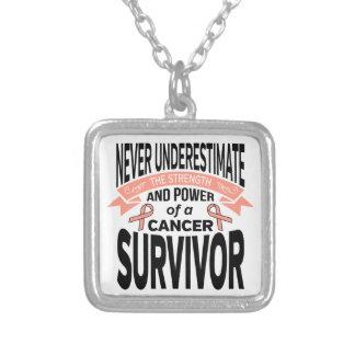 Endometrial Cancer Never Underestimate Strength Square Pendant Necklace