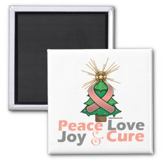 Endometrial Cancer Peace Love Joy Cure 2 Inch Square Magnet
