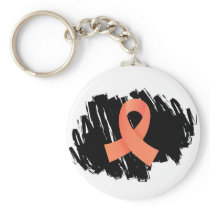 Endometrial Cancer Peach Ribbon With Scribble Keychain