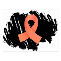 Endometrial Cancer Peach Ribbon With Scribble Postcard