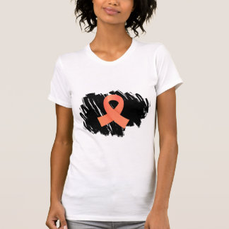 Endometrial Cancer Peach Ribbon With Scribble T-Shirt