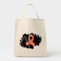 Endometrial Cancer Peach Ribbon With Scribble Tote Bag