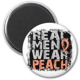 Endometrial Cancer Real Men Wear Peach 2 Inch Round Magnet