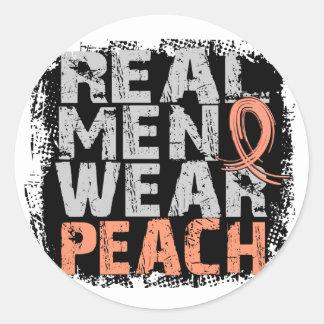 Endometrial Cancer Real Men Wear Peach Round Sticker