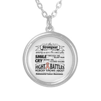 Endometrial Cancer Strongest Among Us Round Pendant Necklace