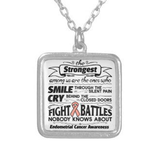Endometrial Cancer Strongest Among Us Square Pendant Necklace