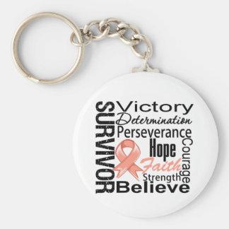 Endometrial Cancer Survivor Collage Basic Round Button Keychain