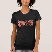 Endometrial Cancer Survivor Flower Ribbon T-Shirt