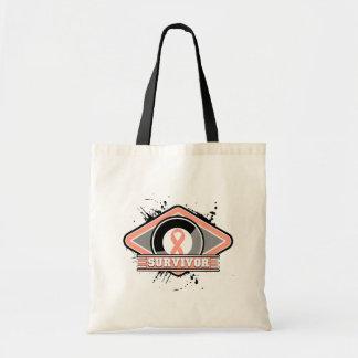 Endometrial Cancer Survivor Grunge Logo Canvas Bags