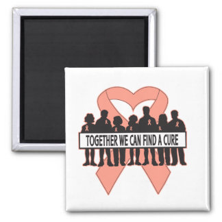Endometrial Cancer Together We Can Find A Cure 2 Inch Square Magnet
