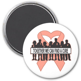 Endometrial Cancer Together We Can Find A Cure 3 Inch Round Magnet
