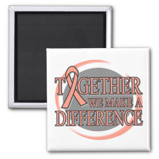 Endometrial Cancer Together We Make A Difference 2 Inch Square Magnet