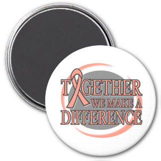Endometrial Cancer Together We Make A Difference 3 Inch Round Magnet