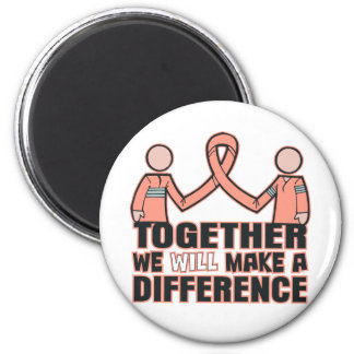 Endometrial  Cancer Together We Will Make A Differ 2 Inch Round Magnet