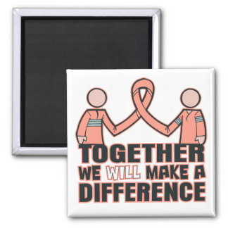 Endometrial  Cancer Together We Will Make A Differ 2 Inch Square Magnet