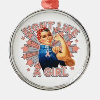 Endometrial Cancer Vintage Rosie Fight Like A Girl Christmas Tree Ornaments