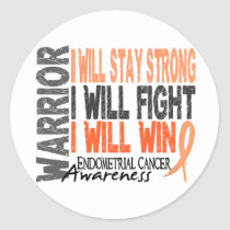 Endometrial Cancer Warrior Classic Round Sticker