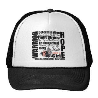 Endometrial Cancer Warrior Fight Slogans Trucker Hat