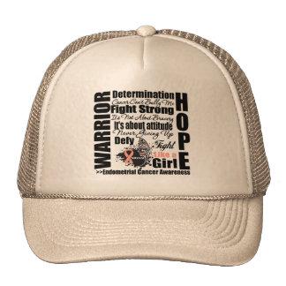 Endometrial Cancer Warrior Fight Slogans Hat