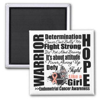 Endometrial Cancer Warrior Fight Slogans Fridge Magnets