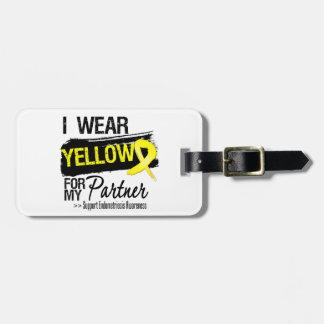 Endometriosis amarilla de la cinta del socio etiqueta para equipaje