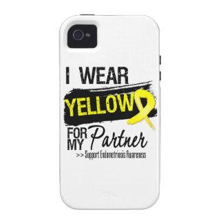 Endometriosis amarilla de la cinta del socio iPhone 4 fundas