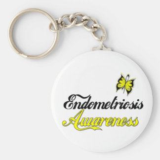 Endometriosis Awareness Butterfly Basic Round Button Keychain