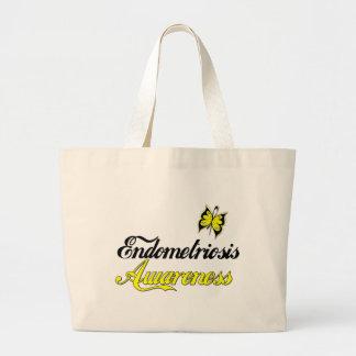 Endometriosis Awareness Butterfly Large Tote Bag