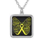 Endometriosis Awareness Butterfly Ribbon Square Pendant Necklace