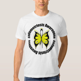 Endometriosis Awareness Butterfly Ribbon Tee Shirt