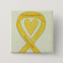 Endometriosis Awareness Heart Ribbon Custom Pin