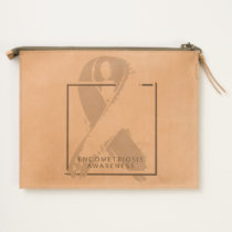 Endometriosis Awareness Leather Travel Pouch