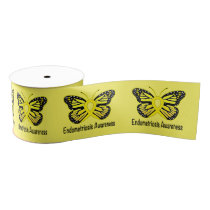 "Endometriosis Butterfly 3"" Grosgrain Ribbon"