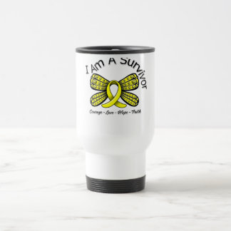 Endometriosis Cancer Butterfly I Am A Survivor 15 Oz Stainless Steel Travel Mug
