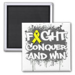 Endometriosis  Fight Conquer and Win 2 Inch Square Magnet