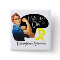Endometriosis Fight Like a Girl Rosie The Riveter Pinback Button