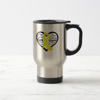Endometriosis Heart Ribbon Collage 15 Oz Stainless Steel Travel Mug
