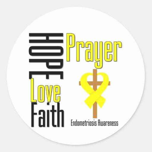 Endometriosis Hope Love Faith Prayer Cross Classic Round Sticker