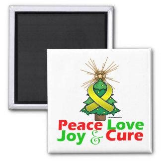 Endometriosis Peace Love Joy Cure 2 Inch Square Magnet