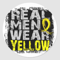 Endometriosis Real Men Wear Yellow Classic Round Sticker