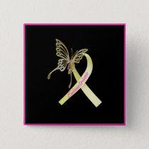 Endometriosis Ribbon Butterfly Button