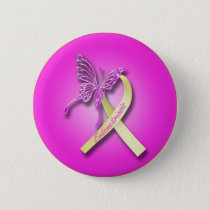 Endometriosis Ribbon with Butterfly Pinback Button
